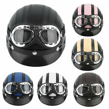 Motorcycle Scooter Open Face Half Synthetic Leather Helmet Visor UV Goggles CN