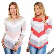 Womens Ladies Open Knit Striped Long Loose Jumper Sweater Casual Pullover Top