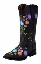 Ferrini Western Boots Womens Flores Square Pull Tabs Charcoal 82193-53