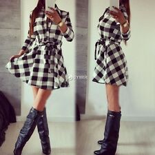 Stylish Ladies Plaid Check Belt Shirt Skater Dress Women Lapel 3/4 Sleeve DZ8802