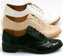 Ladies Vintage Brogues Lace Up Smart School Office Formal Casual Shoes