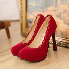 New womens high heels round toe ladies lace pumps faux suede shoes plus size 006