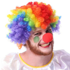 Party Disco Rainbow Afro Clown Hair Football Fan Adult Costume Curly Wig Cool TO