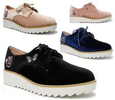 NEW WOMENS VELVET PLATFORM LACE UP LADIES FLATS CREEPERS PUNK GOTH SHOES SIZES
