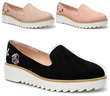 NEW WOMENS PLATFORM SLIP ON LOAFERS FLATS CREEPERS PUNK GOTH SHOES SIZES