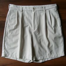 Mens 36 PEBBLE BEACH LONE CYPRESS Pleated Polyester Golf / Dress Shorts Beige