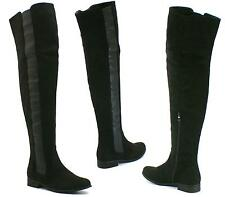 WOMENS OVER THE KNEE HIGH FLAT LADIES LONG FAUX SUEDE THIGH BOOTS SIZE 3-8