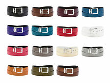 Wide Bonded Leather Belt LIZARD Skin Pattern Colors Silver-Tone Buckle XL Sizes