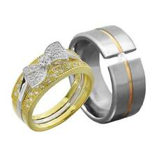His and Hers Wedding Rings 3 pcs Engagement CZ Sterling Silver Titanium Set FF