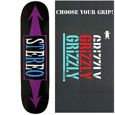 STEREO Skateboard Deck ARROWS BLACK/PURPLE 7.75 with GRIZZLY GRIPTAPE