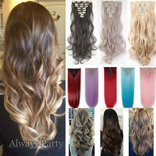Luxury Ombre More Thick Clip In Hair Extensions Long Curly As Human Full Head UK