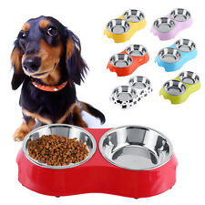 Colorful Double Diner Dish Dog Cat Pet Feeding & Watering Bowl 350ML S/M Sizes