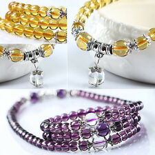 CRYSTAL STONE BUDDHIST AMETHYST 108 PRAYER BEADS MALA BRACELET NECKLACE ELEGANT