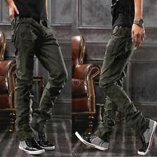 Military Combat Army Green Cargo Pockets Men's Casual Pants Outdoor Trousers @