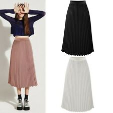 Retro Women Double Layer Chiffon Pleated Long Maxi Dress Elastic Waist Skirt