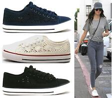 Womens Black White Lace Up Flat Crochet Mesh Skater Trainers Pumps Ladies Shoes