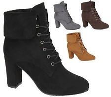 LADIES WOMENS HIGH BLOCK HEEL FAUX SUEDE LACE UP SHOES NEW ANKLE BOOTS SIZES