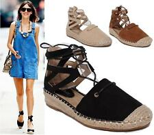 LADIES FLATS WOMENS ESPADRILLES GIRLS LACE UP PUMPS CANVAS PLIMSOLES SHOES SIZE