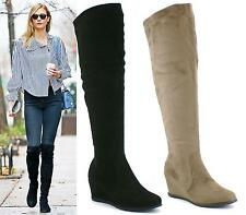 LADIES OVER THE KNEE BOOTS LOW WEDGE HEEL KNEE BLACK KHAKI SUEDE SHOES SIZE 3-8
