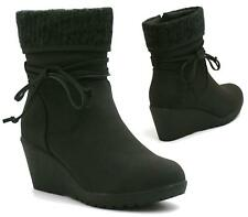LADIES WOMENS FLAT MID HEEL WEDGE WINTER BIKER CALF ANKLE BOOTS SIZE 3-8
