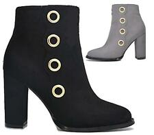 WOMEN HIGH HEELS FAUX SUEDE ZIP COWBOY GOLD EYELET ANKLE BOOTS BOOTIES SHOES 3-8