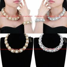 Fashion White Resin Pearl Woven Rope Chain Chunky Choker Statement Bib Necklace