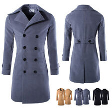 Mens Double-Breasted Peacoat Jacket Winter Warm Wool Cotton Jacket Trench Coat