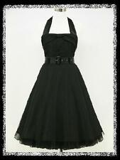 dress190 BLACK HALTER 50s 60s ROCKABILLY RETRO COCKTAIL PROM PARTY VINTAGE DRESS