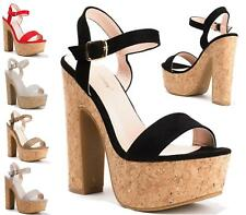 WOMENS SLINGBACK BUCKLE PEEP TOE PLATFORM CORK HIGH BLOCK HEEL SANDAL SHOES SIZE