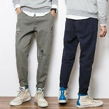 New Fashion Mens Casual Loose Pants Overalls Cotton Patch Baggy Pencil Trousers