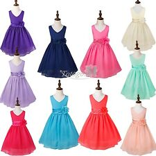 Flower Kid Baby Girls Princess Bow Wedding Summer Party Chiffon Dress Ball Gown