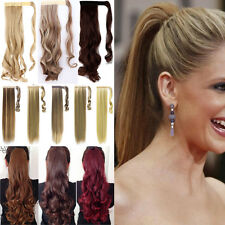 Women Girl Long Clip In Hair Extension Wrap Around Clip On Natural Ponytail N6b