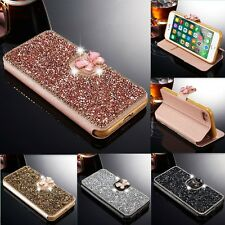 Luxury Bling Diamond Flip Stand Leather Case Wallet Cover For iPhone Samsung C