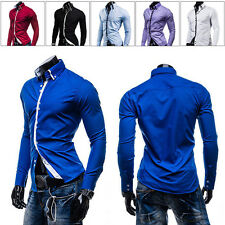 Mens Fashion Long Sleeve Casual Slim Dress Business Shirt Tops Luxury Cotton