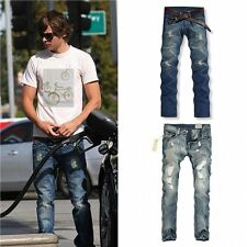 Fashion Wash Casual Classic Men's Jeans Straight Slim Fit Denim Pants Trousers