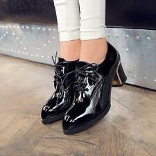 New Ladies Women's Block Heels Patent Leather Lace Up Oxfords Work Casual Shoes