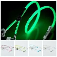 Glow In The Dark Zipper Headphones Earphone Headset 3.5mm In-Ear Luminous Earbud