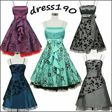 dress190 Flock Floral Tatto 50s Rockabilly Prom Ball Evening Party Dress UK 8-26