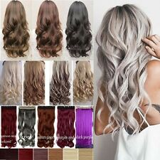 100% Natural Thick Clip in Hair Extensions 1 Piece Full Head Long As Human Hair