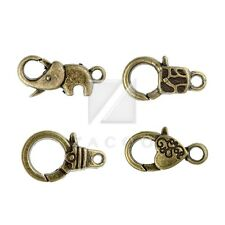 10-20pcs Lobster Claw Clasp Antique Brass Elephant/Heart/other Jewelry Findings