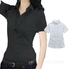 Womens short sleeve blouse Button Down shirt Office Ladies business Top Size