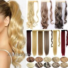100% Real Thick Clip In Ponytail Pony Tail Hair Extension Wrap On Hair Piece UK