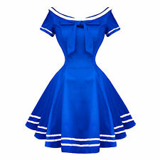 Hearts and Roses London Blue Rockabilly 50s Pinup Sailor Mini Dress UK