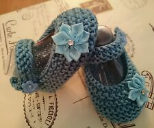 Hand Knitted Baby Shoes in nice shade of blue for  0-3 , 3-6 or Reborn