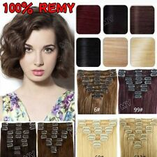 """Short 10"""" Or Long 20"""" 100% Remy Clip In Weft Extensions Human Hair Full Head II5"""
