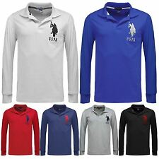 Mens US Polo Assn Long Sleeve Top Polo Shirt Pique Collared Smart Tshirt Cotton
