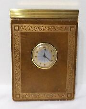 VINTAGE 1954 CLOCK CALENDER IN LEATHER BINDING AND IN WORKING CONDITION