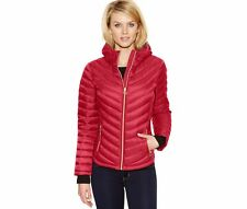 MICHAEL MICHAEL KORS Woman's Red Quilted Hooded Down Puffer Packable Jacket Coat