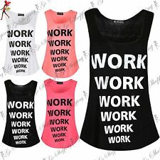 New Ladies Womens Workout Jersey Curved Hem Sleeveless Slogan Print Gym Vest Top