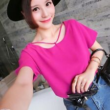 Fashion Women's Short Sleeve Blouse Tops Casual Loose Chiffon T-shirts Tops F97